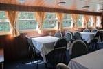 """Теплоход """"ВИС"""" - до 50 человек. Панорамные окна в ресторане."""